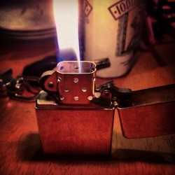 livinginaplasticjungle:  My fancy new lighter. Hurrah for wind-resistant flames!