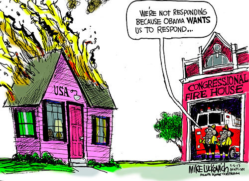 Luckovich Cartoon: Feel the burn ~~ (Republicans don't want to do anything unless it helps them retain or regain power.)