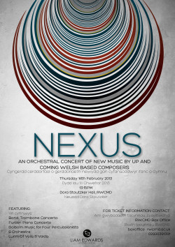 Poster for the 'Nexus' concert in Cardiff http://www.behance.net/liam_edwards www.facebook.com/liamedwardsdesign