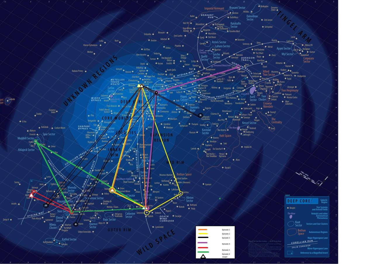via discoverynews:   Star Wars Saga Mapped   Very cool, but wouldn't it be better if you could find one big enough to actually read? :) Joe to the rescue! Check out a hi-res version here (Tatooine is in the bottom middle in case anyone cares). Of course, what good is a map without an index? Got ya covered there, too: Coordinates of all the places you'll be looking for. Here's a thought experiment for you: Is the Star Wars galaxy oddly small or does it have an unusually high density of habitable, life-harboring planets? This may or may not relate to an upcoming episode of the YouTube show.