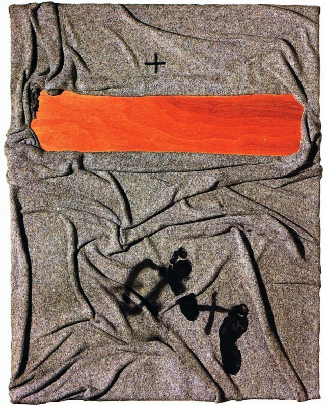 Antoni Tapies blanket with tracks ,2001