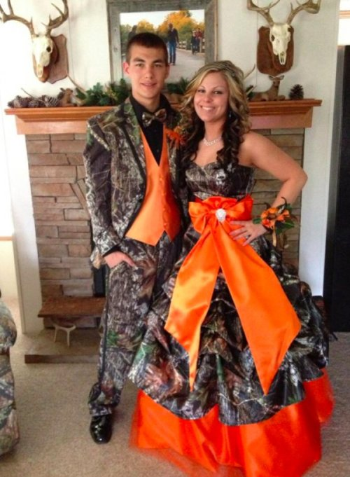 "Matching Dress and Tuxedo For Redneck Prom From Cabelas ""Evening Wear"" collection"