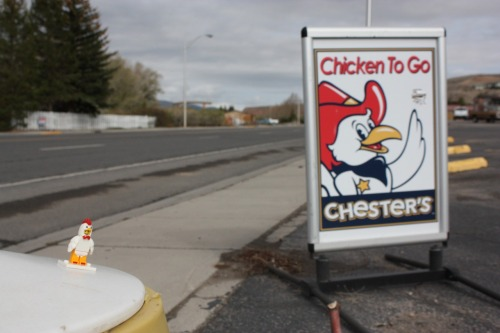 Chester's chicken sign, Dubois, WY #lego #chicken