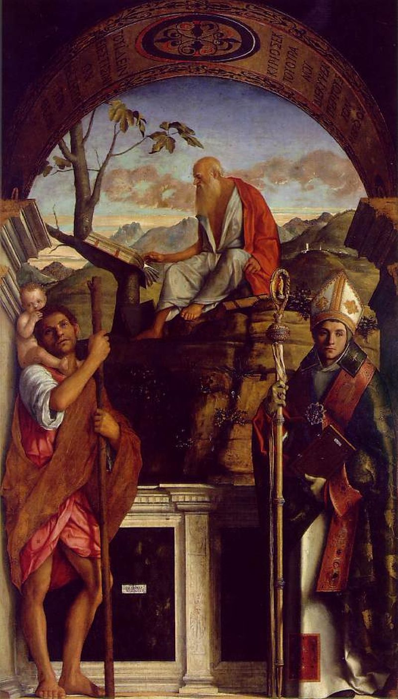 Bellini, Giovanni [Italian High Renaissance Painter, ca.1430-1516]St Jerome with St Christopher and St Louis of Toulousec. 1513Oil on panelSan Giovanni Crisostomo, Venice