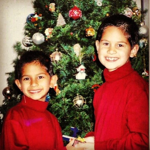 #NationalSiblingDay #cute #children #turtleneck #brother #red #Christmas #ChristmasTree #ornaments #ears #TurtleneckAndChain #LonelyIsland #baby #babyteeth #adorable #nerds