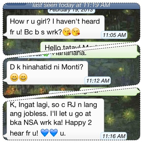 Extra reason to smile today: an unexpected conversation with my tatay. :)
