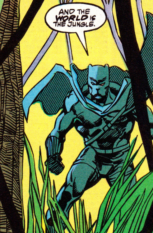 jthenr-comics-vault:  truBlack Panther #4 (October 1988)Art by Denys B. Cowan & Sam DeLarosaStory by Peter B. Gillis