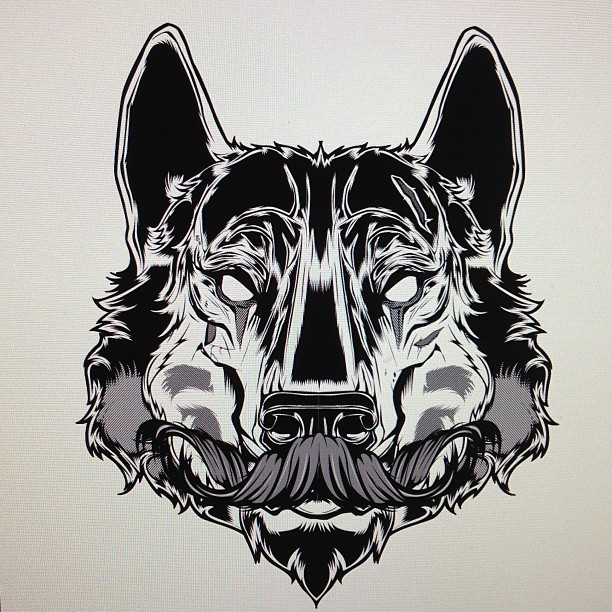 hydro74:  Stash + Wolf.  Illustration mess around