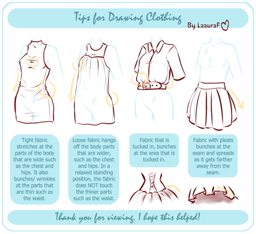 laaura-f:   Just a few basic tips for drawing fabric and clothing.