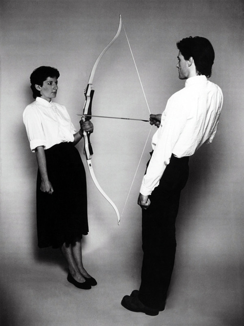 likeafieldmouse:  Marina and Ulay 1. Rest Energy (1980) 2. Relation in Space (1976) 3. Imponderabilia (1977) 4. Breathing In Breathing Out (1978) 5. Interruption in Space (1977) 6. Relation in Time (1977) 7. Aaa Aaa (1978)