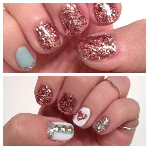 Glitter & Studs mani using Gelish and Martha Stuart glitter   Follow me on Instagram for more nail fun!! @andria_goodrow