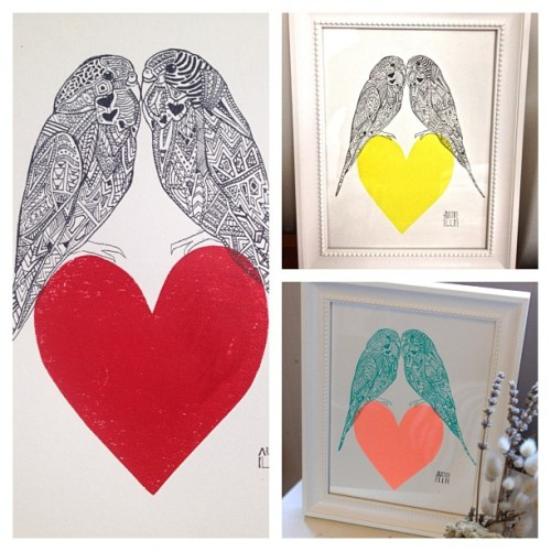 Budgies in Love ^_^ the perfect gift this Valentines Day | $90 framed | artofellieanderson@gmail.com to order