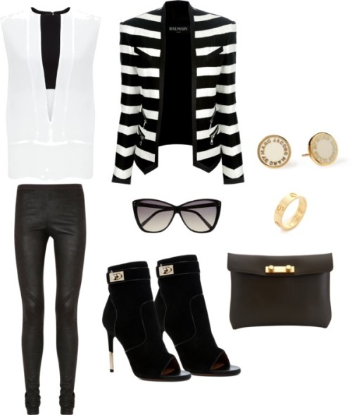 Striped Blazer by rebekkab featuring cat eye sunglasses