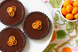 Chocolate Kumquat Tartlets Ingredients for Chocolate Sable Dough:  4 ounces butter, room temp 2/3 cup sugar 1 egg yolk 1 teaspoon vanilla 1 cup flour, sifted 1/2 cup + 1/2 tablespoon cocoa powder, sifted 1 teaspoon salt 2 tablespoons heavy cream Ingredients for Kumquat Chocolate Ganache:  2 tablespoons kumquat zest 1 cup heavy cream 4 ounces chocolate (63% and up) Ingredients for Candied Kumquat:  12 slices of kumquat, seeds removed 1/2 cup water 1 cup sugar