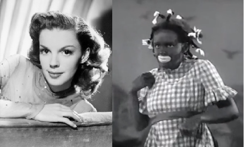 livehowyouwant:  Judy Garland as Black Face: On the left is an image of Judy Garland as herself with no make up on besides some blush and lipstick. However on the right is an image of Judy Garland dressed up as Black Face. Let me explain, blackface was a term used during the 1900's(and still today) for white people to dress up as African Americans by smearing black paint on their face. Not only does the video show her with black makeup on, but she is also wearing white paint over her actual lip line. And she is given a black wig with braid in it. There is so much racism and stereotyping going on in this picture I don't even know where to start. Honestly, I think I'll let the picture explain itself and let you form your own opinions on it, just let it soak in.