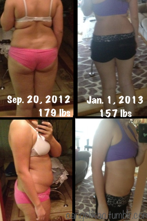 oangelikao:  As you can see here's the my progress picture. I still have a long way to go in 2013 but I feel like I did pretty good in 2012. All I did was eat better and exercise. That's it. There is no magic formula - you have to work for it.  Besides the obvious transformation in my body, there are many changes you can't see. Mainly how I feel. I'm more confident now and A LOT more happy! Stronger, faster, better. It's not all about the scale you know.