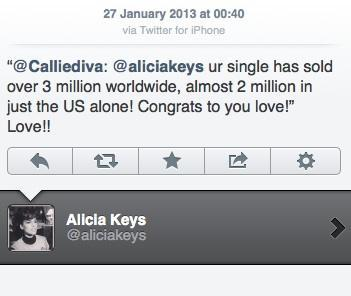 "BlackBerry's new global creative director, Alicia Keys, tweeting from her device of choice three days ago. Two weeks ago Last year, she said she was an ""iPhone junky."" (ht @samradford)"