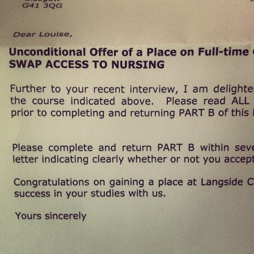 WOOHOOOOO!!!!!!! #college #place #langside #nursing #qualified #nhs