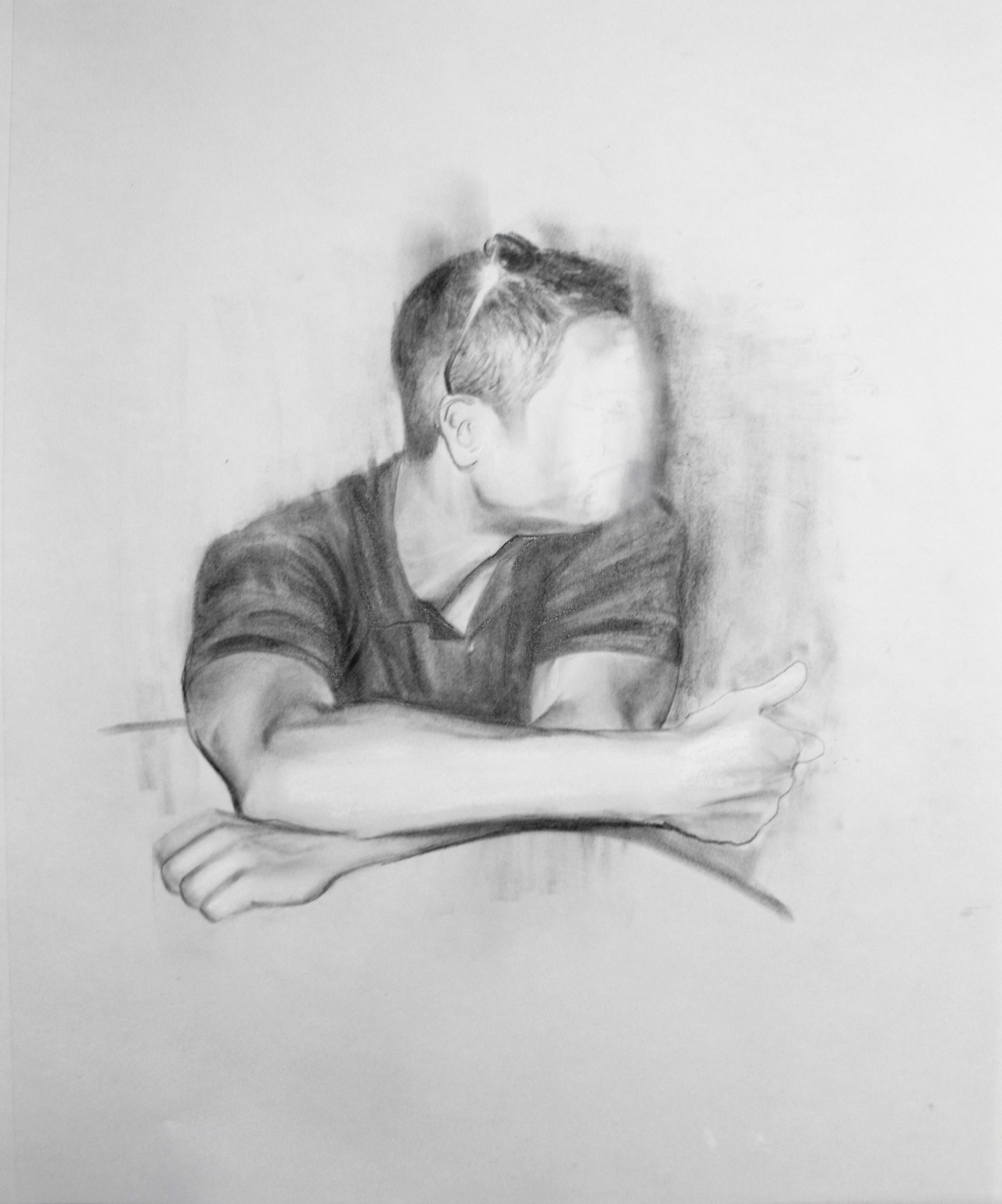 "Aviator (Study) by Travis K. Schwab - Graphite and white pastel on paper 17"" X 14"""