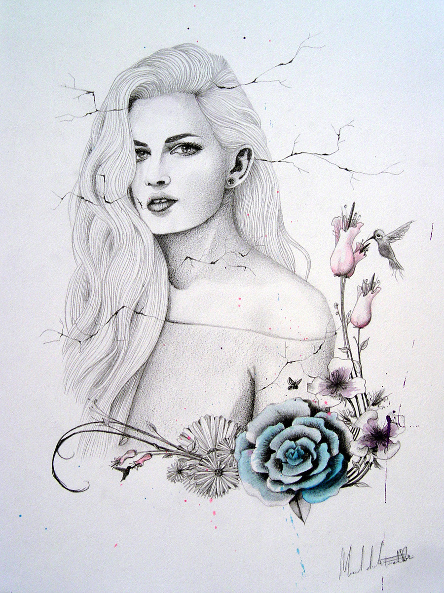 "#illustration ""LM&DR4"" / Live muses & dead roses project, pencil & watercolors, by Manuel De La Fuente Baños / manuelsart.com illustration ©2013"