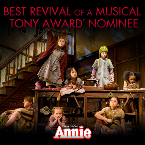 Congratulations to the cast, crew and creative team from ANNIE on their Tony Award nomination for Best Revival of a Musical.