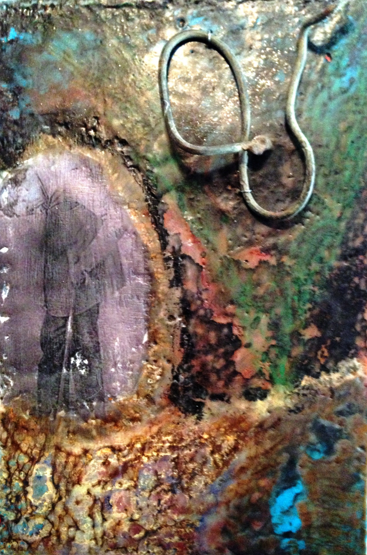 leonard trask 2012 12×8 $125 encaustic and found objects on birch panelView Post