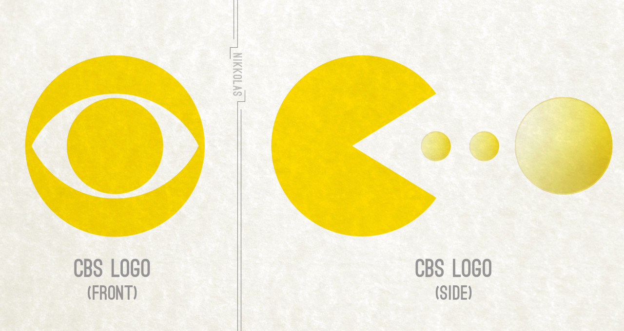 it8bit:  Logos: The CBS Logo is actually the front view of Pac-Man getting ready to chomp a power pellet.  Created by Nikkolas Smith (via:cannotunsee)
