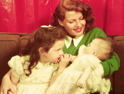 Rita Hayworth and her two daughters, Rebecca Welles and Princess Yasmin Khan, circa 1950.