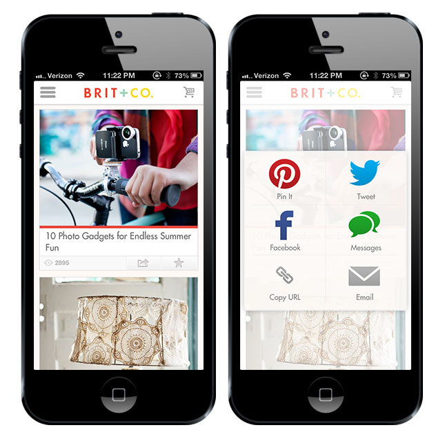 "Pinteresting news! We're excited to announce the ""Pin It"" button in our mobile app. Check it out on Brit + Co. for iOS and get your pin on."