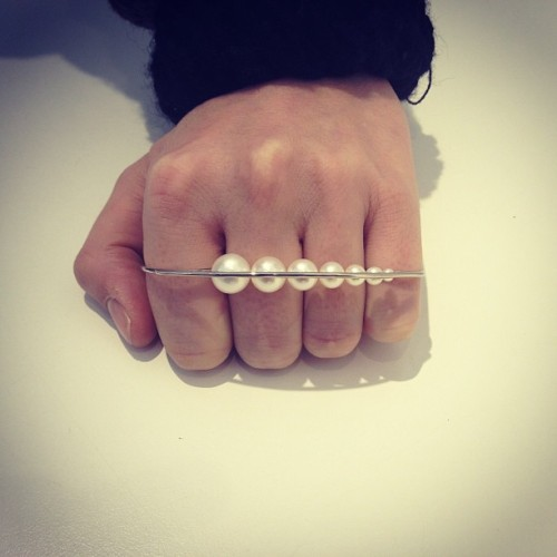 coletteteam:  Four fingers ring in white gold & white pearls by MELANIE GEORGACOPOULOS. #colette #colettestore #melaniegeorgacopoulos #ring  Pretty but looks uncomfortable