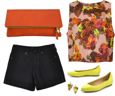 clutch / shorts / top / earrings by Nettie Kent / flats originally posted on Gems