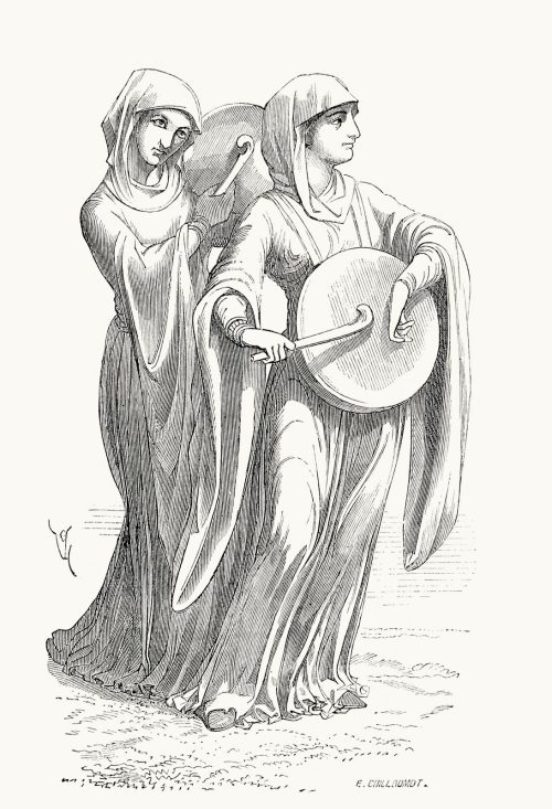 Women playing drums (XII century).  From Dictionnaire raisonné du mobilier français de l'époque carlovingienne à la Renaissance (Reasoned dictionary of French furniture from the Carolingian era to the Renaissance), vol. 2 by E. Viollet-Le-Duc. Paris, 1873.  (Source: archive.org).