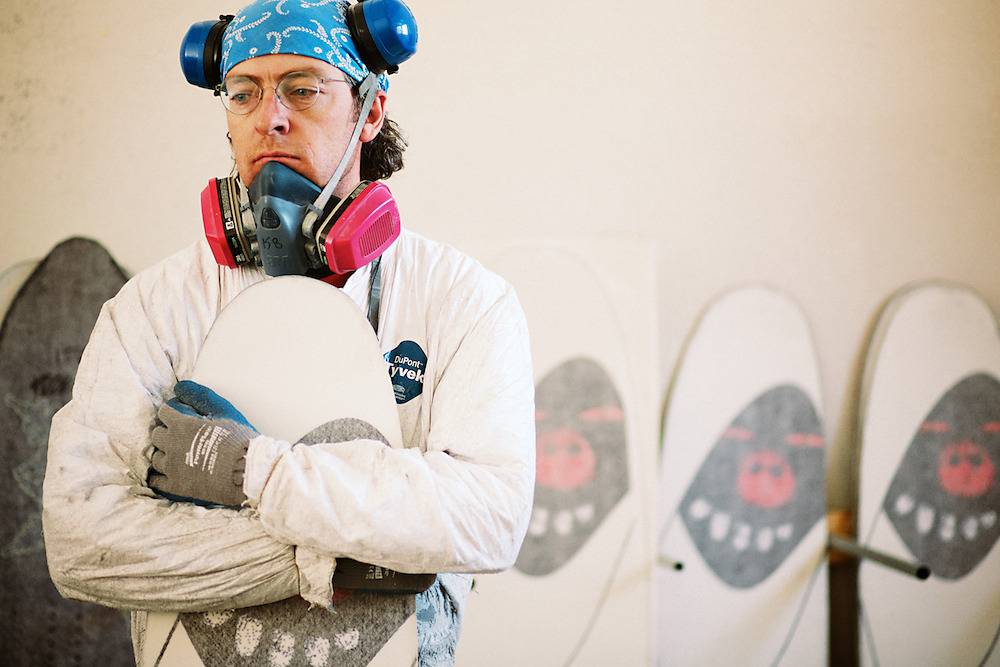 Klem Branner of Venture Snowboards at his factory in Silverton, CO. 2013.