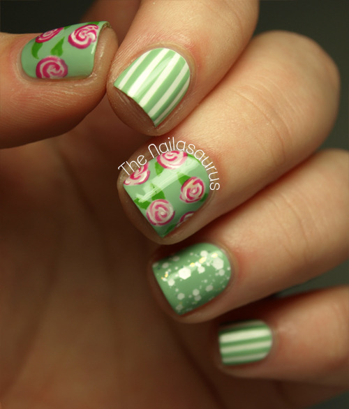 thenailasaurus:  Flowers and Pinstripe