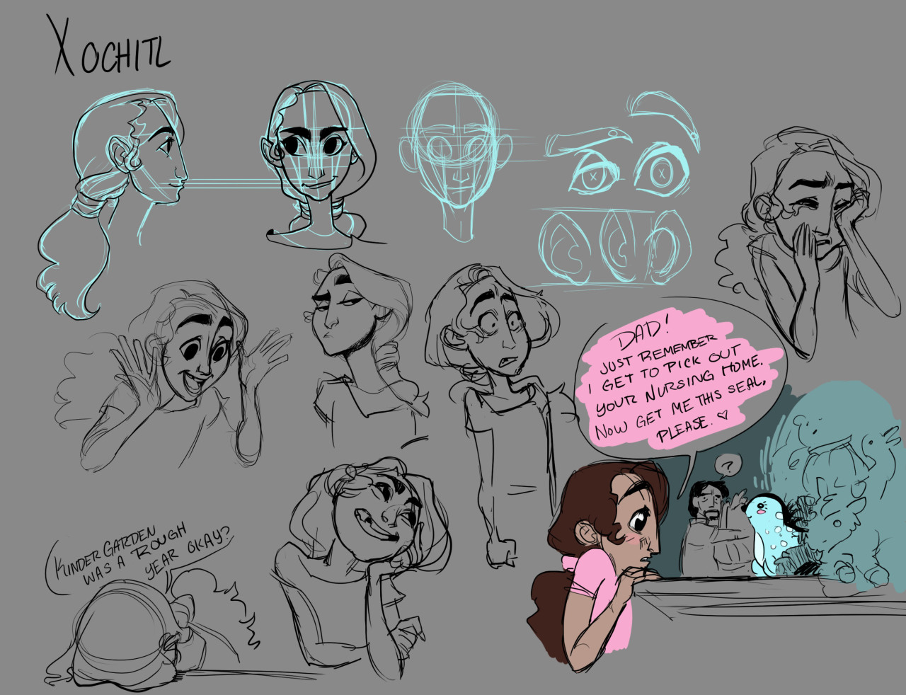 Expression sheet for a character in my character design class. Her name is pronounced like (zoe-chi), and is taken from a girl I knew in highschool. c: