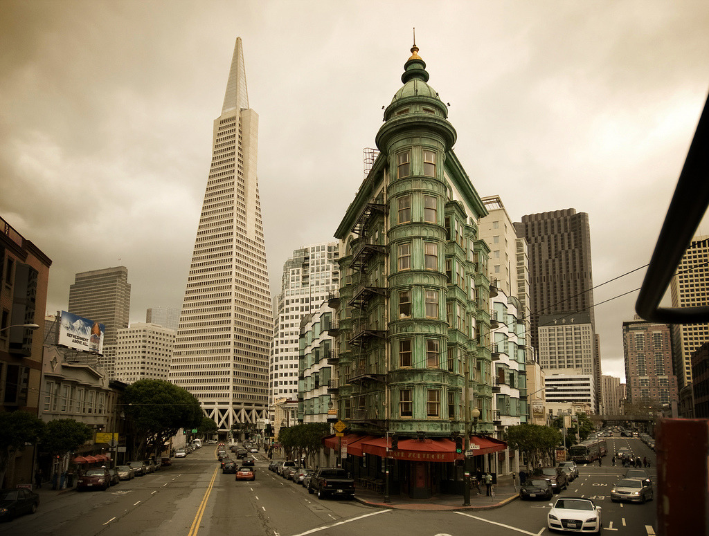 travelingcolors:  Columbus and Transamerica, San Francisco | California (by Wade Griffith)  That building looks really cool