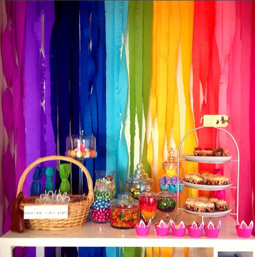 Rainbow Crepe Paper Background for a Candy Bar
