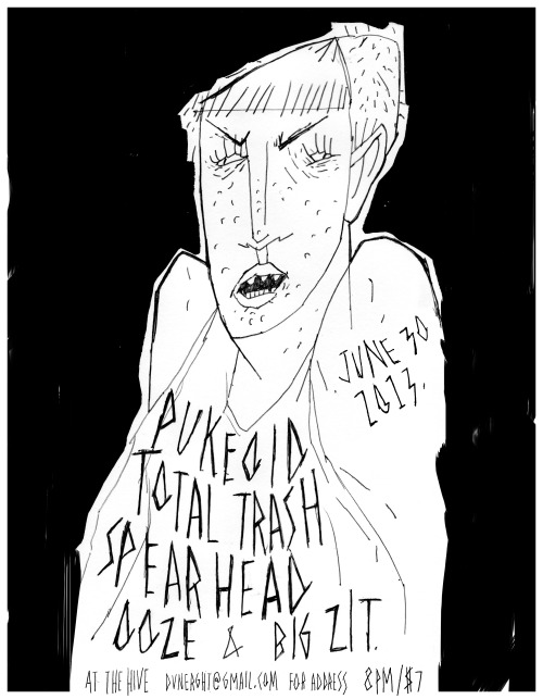 chelseawatt:  quick and dirty. poster for a chicago show; touring toronto bands total trash and spearhead.