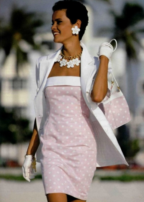 80s-90s-supermodels:  Escada 1992Model : Nadege du Bospertus