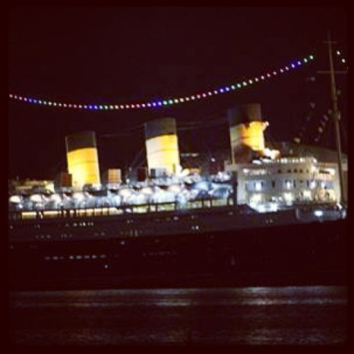 one of the world's biggest queens (Queen Mary) is decorated for the pride festival. makes me proud of long beach.
