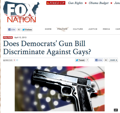 Weird that Fox News/many conservatives seem to only care about the gays and sexually assaulted women when it is useful for anti-gun control politics.
