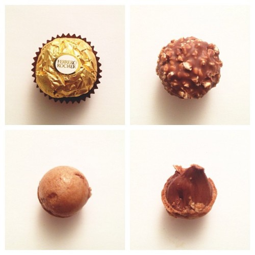 Anatomy of a Ferrero Rocher :'o should add one more photos which is a pict of the whole hazelnut that located in the center of the creamy fillings