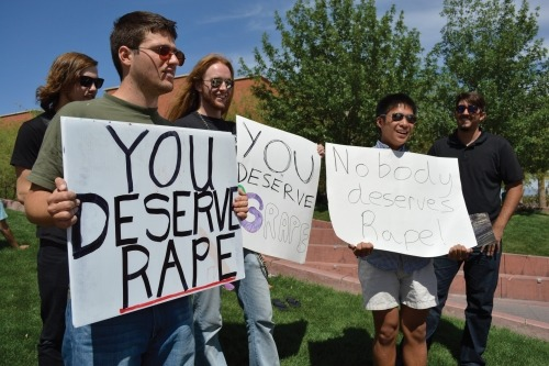 "fat-feminist:  think-progress:  University of Arizona student tells women who dress like ""whores"": ""You deserve rape.""   these are the only people who have ever deserved rape  All the swear words go here. I can't even."