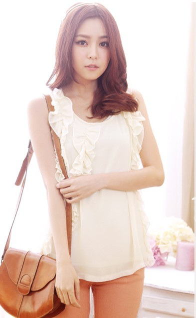 new lotus leaf sleeveless chiffon shape blouse  D19011