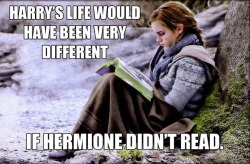 dropitlikefscottt:  Harry would have died if Hermione didn't read.