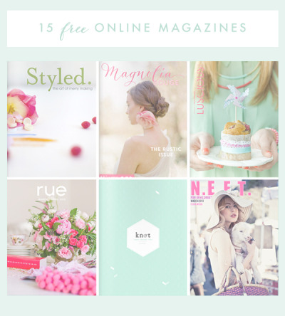 scissorsandthread:  15 Free Online Magazines | Oh The Lovely Things For my birthday I got an iPad, and I am now a convert to online magazines. i still prefer paper books (you can't take an iPad in the bath!) but online mags are the way to go. Oh The Lovely Things has put together an amazing round up of some of the best free mags, including my favourites Sweet Paul and N.E.E.T. Of course you don't need to have an iPad to read these (but it makes it a lot easier!) so check them all out. I'm going to be taking a look at all 15 of them!