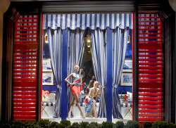 ralphlauren:   Ralph Lauren Stores  Cool nautical blues with pops of color in our 888 Madison Avenue store windows