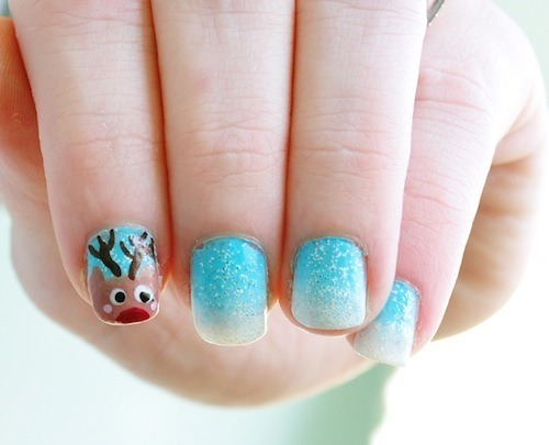 Adorable Rudolph nails by Wendy G.!