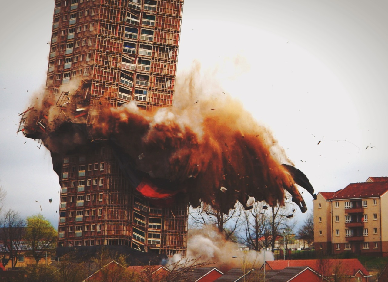 travelingcolors:  Red Road Flats Demolition, Glasgow | Scotland (by zhivagoivan)