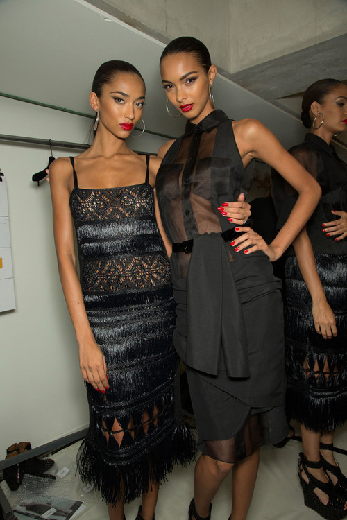 madametoutnnoire:  Anais Mali and Lais Ribeiro backstage at Jean Paul Gaultier Spring 2013 RTW